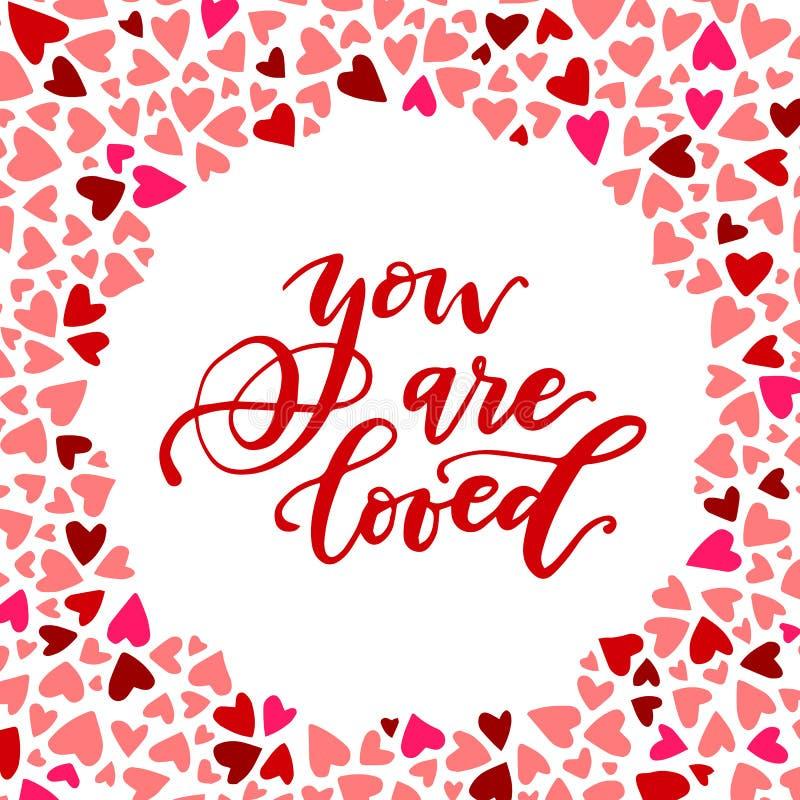 Você é frase caligráfica amada cercado pelo teste padrão colorido do coração ilustração royalty free