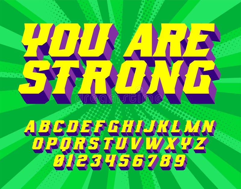Você é letras do vintage do super-herói 3D da maravilha ilustração stock