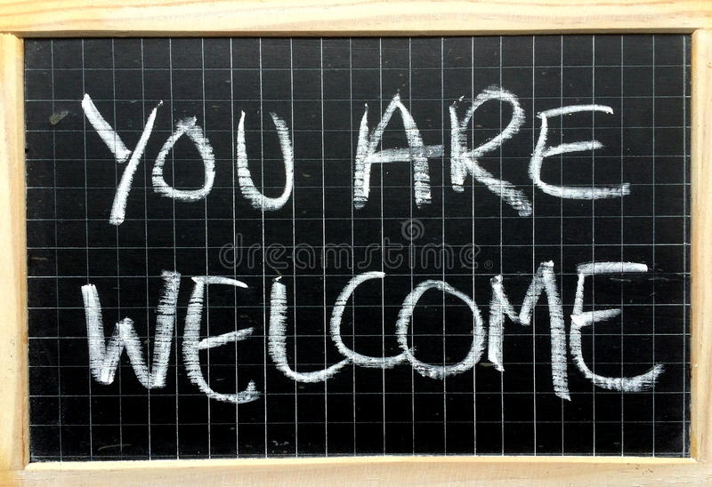 Você é mensagem bem-vinda fotografia de stock
