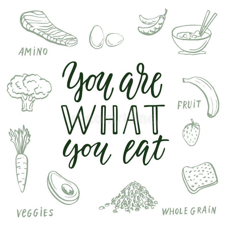 Você é o que você come! Citações e fundo caligráficos sobre comer saudável ilustração stock
