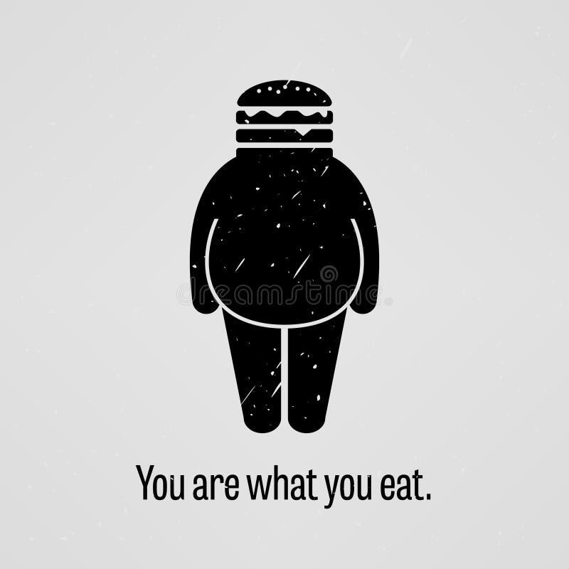 Você é o que você come o provérbio gordo da versão ilustração stock