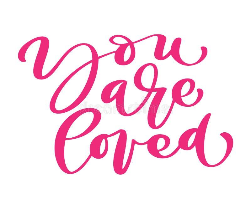 Você é texto amado do amor do dia de Valentim do vetor Entregue as letras tiradas, citações românticas para cartões do projeto, f ilustração royalty free