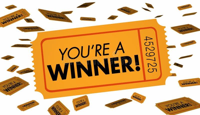 Você é uma sorte dos bilhetes de loteria da rifa do vencedor ilustração royalty free