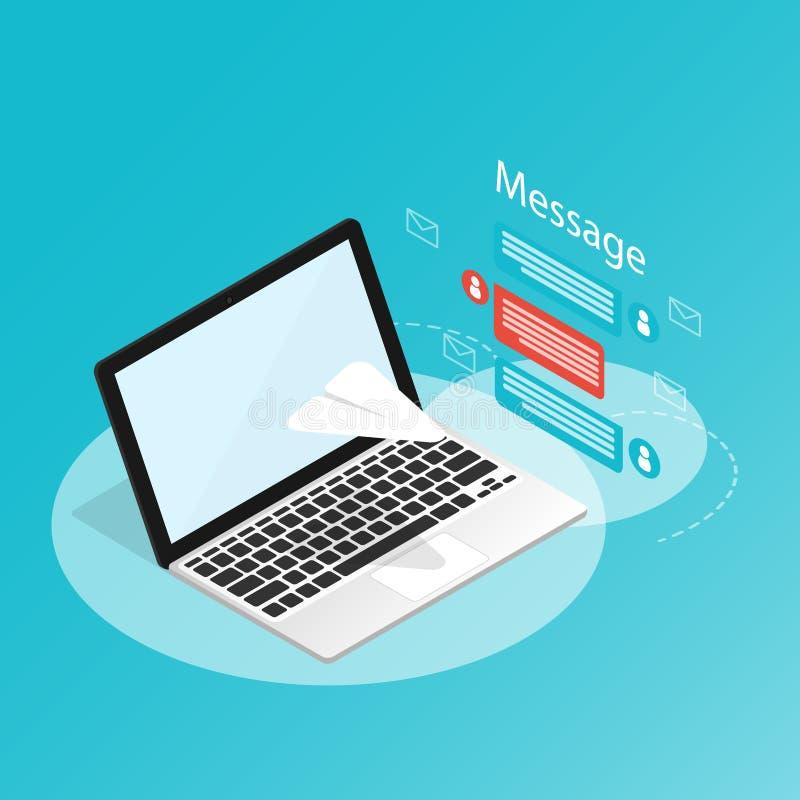 Você 'VE conseguiu o correio, portátil isométrico enviar o papel do foguete da mensagem, vetor das notificações da aplicação ilustração stock