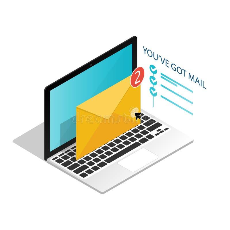 Você 'VE obteve o correio, vetor isométrico das notificações do portátil do e-mail ilustração stock