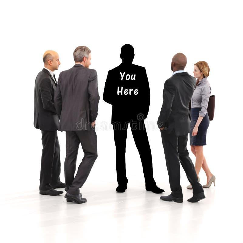 Você aqui conceito Encontrando sua identidade do negócio com a liderança, trabalhos de equipa, ect da ambição Em um branco fundo  ilustração stock
