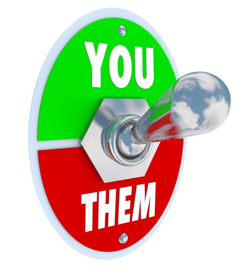 Você contra eles interruptor de alavanca que bate a competição ilustração royalty free
