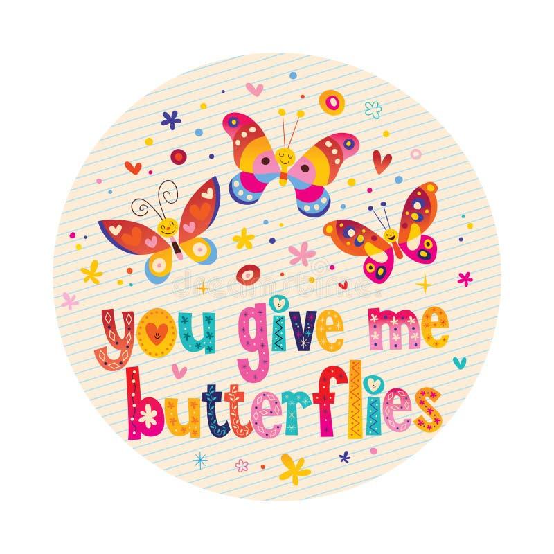 Você dá-me borboletas cartão do amor ilustração royalty free