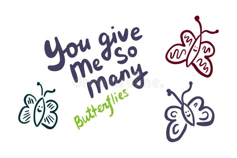 Você dá-me tão que muitas borboletas entregam a ilustração tirada do vetor no estilo dos desenhos animados ilustração royalty free