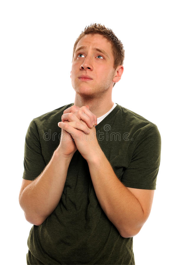 Você equipa a vista acima Praying imagens de stock