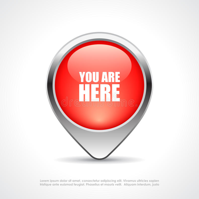 Você está aqui marcador do mapa ilustração stock