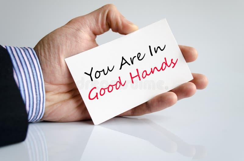 Você está no bom conceito do texto das mãos fotografia de stock
