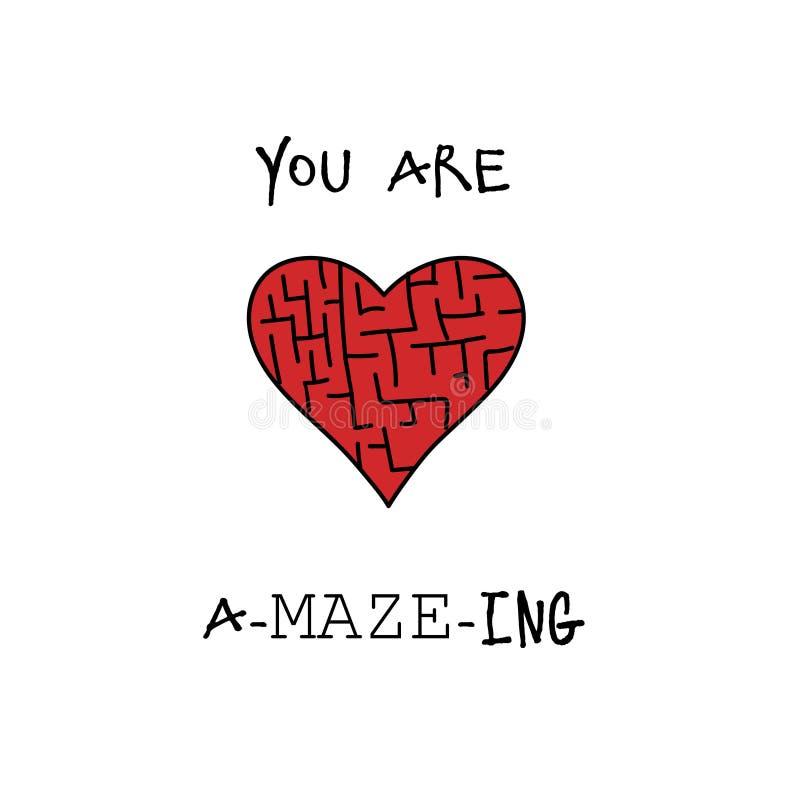 Você está surpreendendo o cartão feliz do dia de Valentim ilustração do vetor