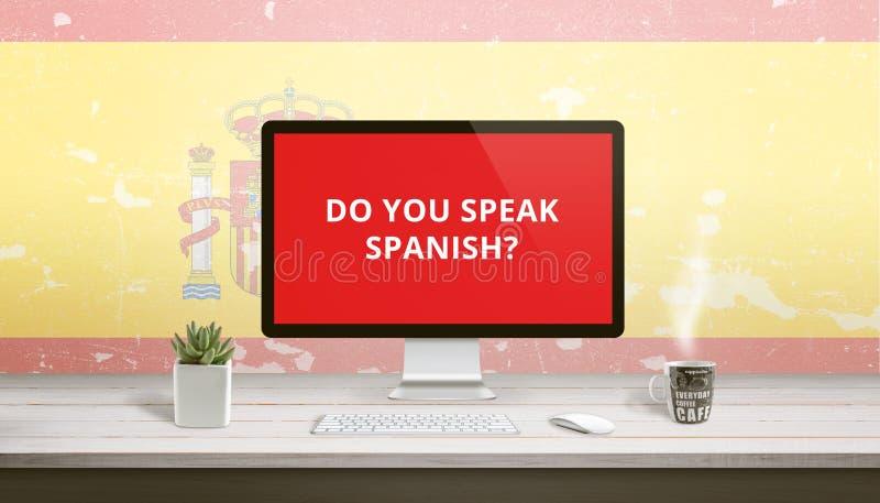 Você fala o espanhol na exposição de computador com uma bandeira da Espanha foto de stock