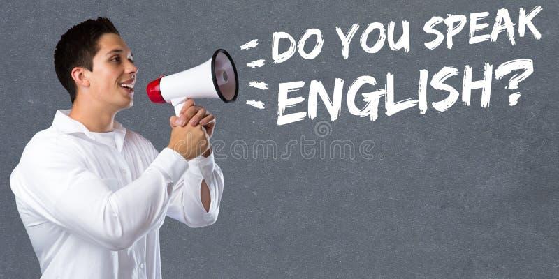 Você fala o homem novo da escola da aprendizagem de língua estrangeira do inglês foto de stock