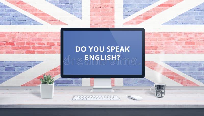 Você fala o inglês na exposição de computador com uma bandeira de Grâ Bretanha fotos de stock royalty free