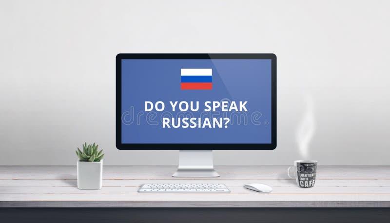 Você fala o russo na exposição de computador fotos de stock royalty free