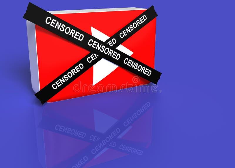 Você logotipo do tubo com uma cruz preta com a palavra censurada ilustração royalty free