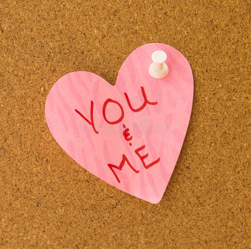 Você & mim memorando cor-de-rosa do coração imagem de stock royalty free