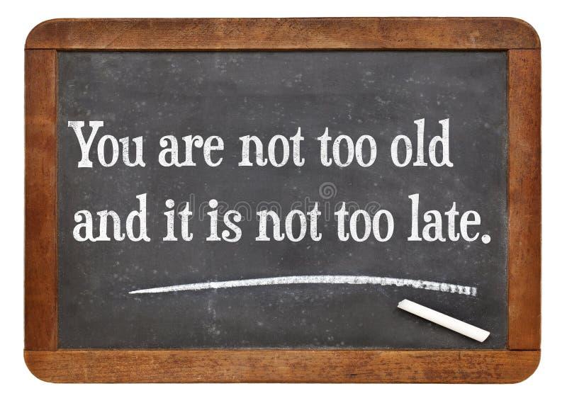 Você não é demasiado idoso foto de stock