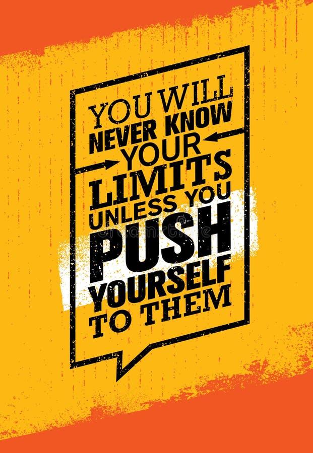 Você nunca conhecerá seus limites a menos que você se empurrar para eles Citações da motivação do Gym do exercício e da aptidão ilustração stock