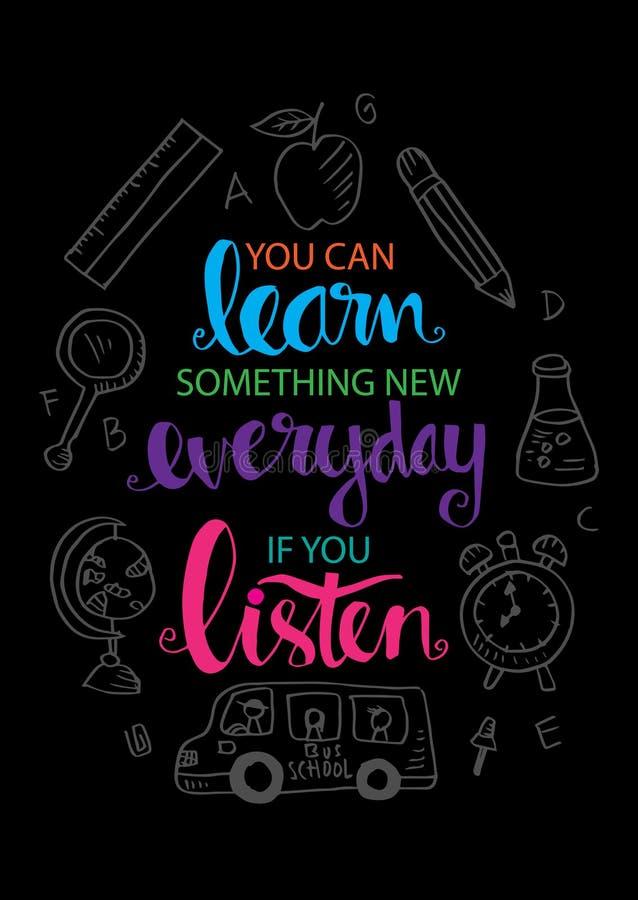 Você pode aprender algo diário novo se você escuta ilustração royalty free