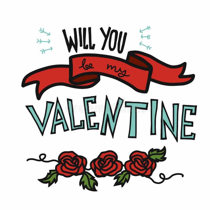 Você será minhas palavra do Valentim e ilustração cor-de-rosa do vetor dos desenhos animados ilustração do vetor