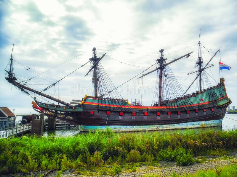 VOC schip Batavia Lelystad, Flevoland, Nederland royalty-vrije stock foto