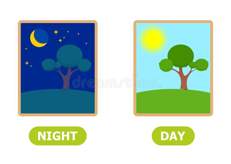 Night and day illustration. Vocabulary English opposite words stock illustration