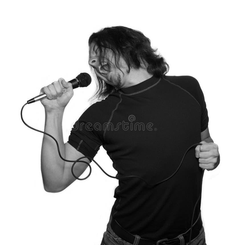 Vocalista na camisa preta fotos de stock
