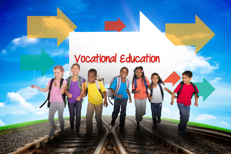 Vocational education against railway leading to blue sky royalty free stock images