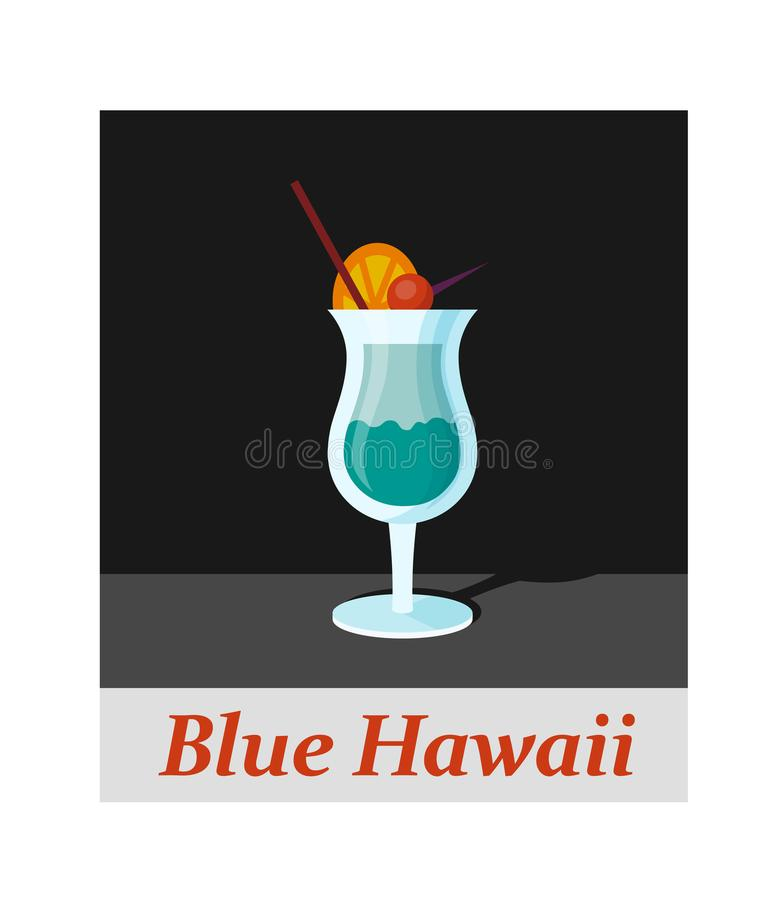 Voce di menu blu del cocktail delle Hawai o qualsiasi genere di progettazione illustrazione di stock