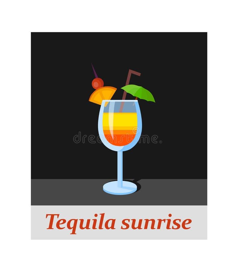 Voce di menu del cocktail di alba di tequila o qualsiasi genere di progettazione royalty illustrazione gratis