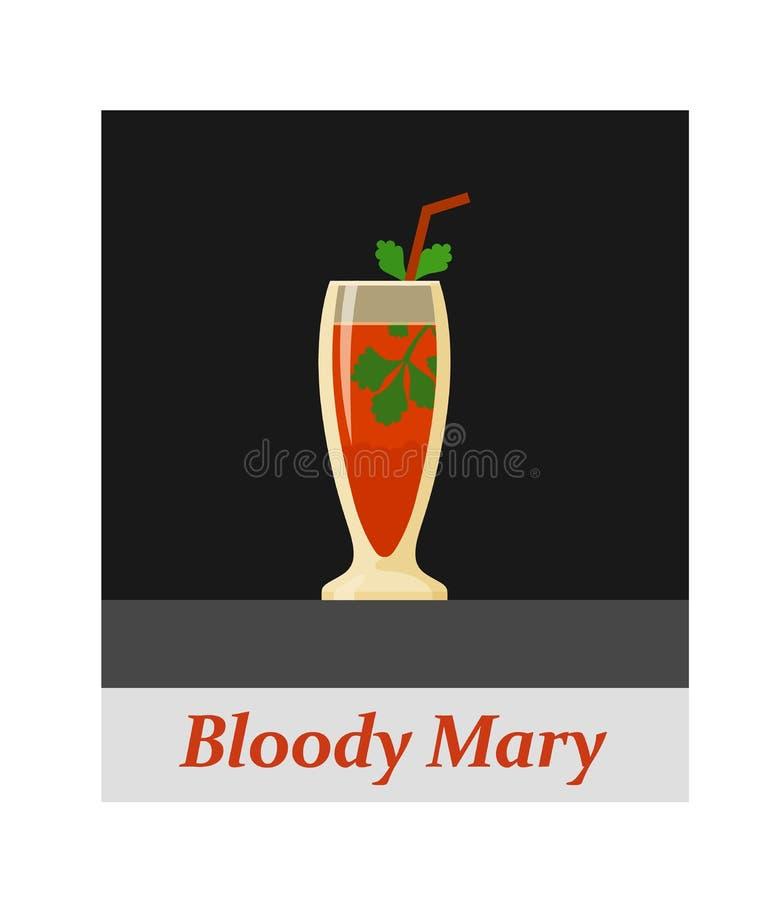 Voce di menu del cocktail di bloody mary o qualsiasi genere di progettazione royalty illustrazione gratis