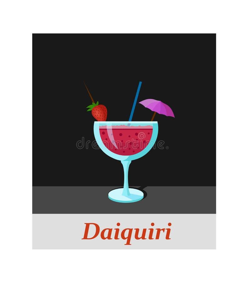 Voce di menu del cocktail dei daiquiri o qualsiasi genere di progettazione illustrazione di stock