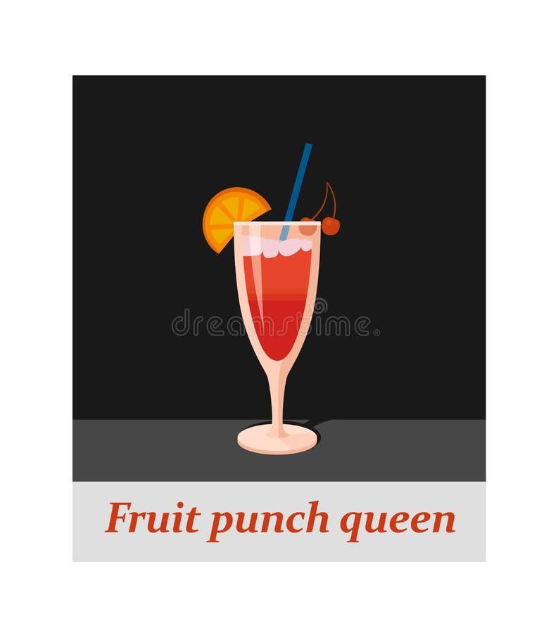 Voce di menu del cocktail della regina della perforazione di frutta o qualsiasi genere di progettazione illustrazione vettoriale