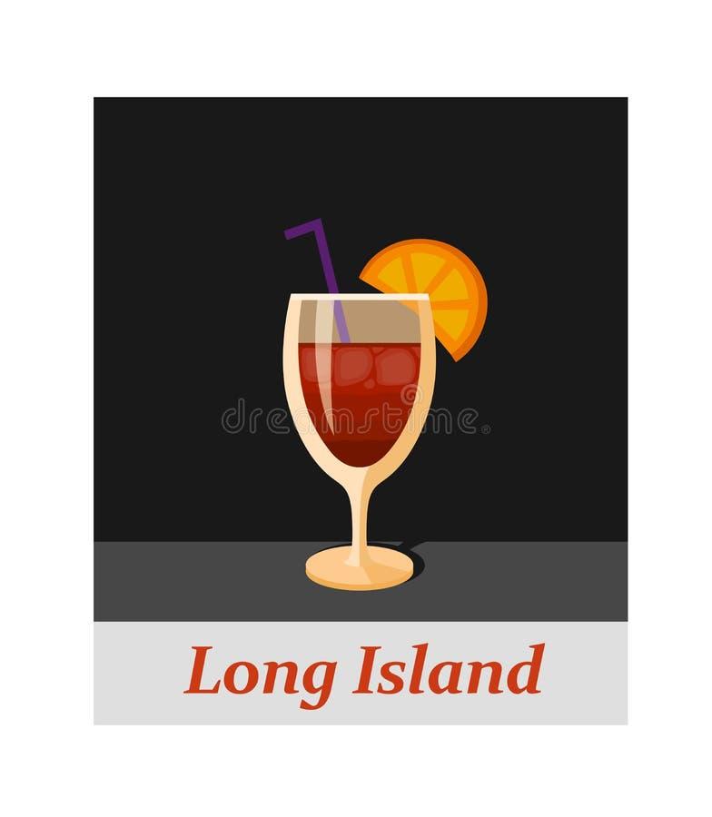 Voce di menu del cocktail di Long Island o qualsiasi genere di progettazione illustrazione di stock