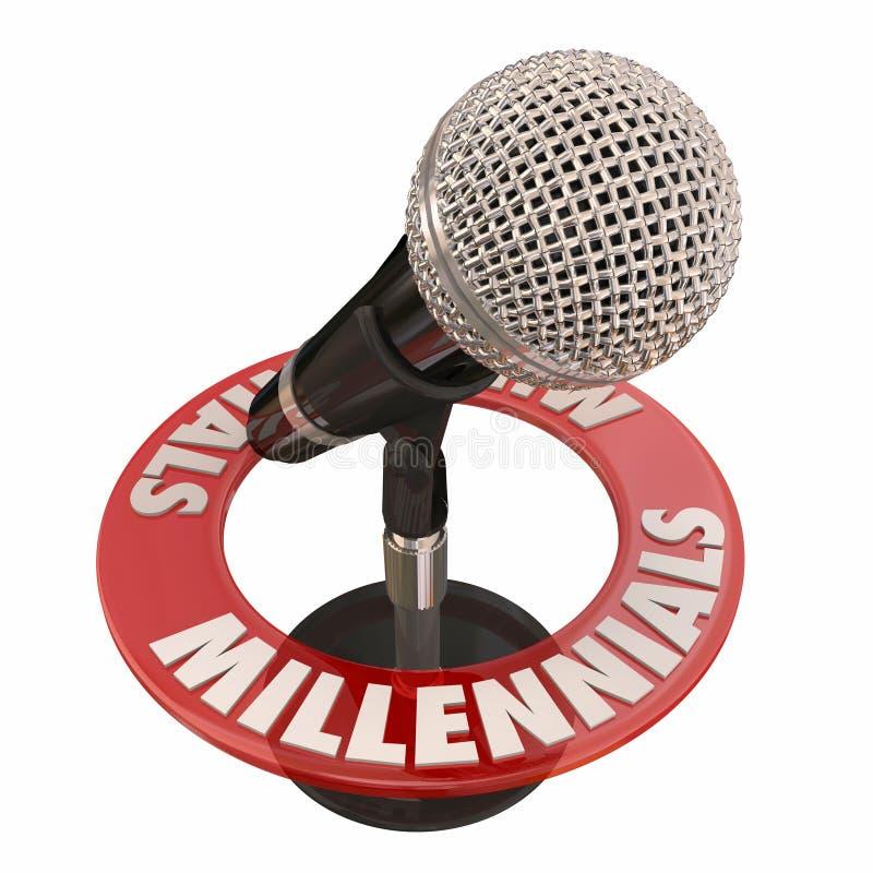Voces del micrófono de la palabra de Millennials que hablan el podcast Rad de la entrevista ilustración del vector