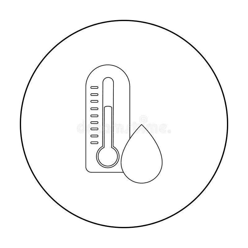 Vochtig die dagpictogram in overzichtsstijl op witte achtergrond wordt geïsoleerd De voorraad vectorillustratie van het weersymbo vector illustratie