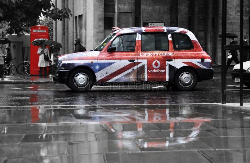 Vodafone advertisement on a black cab stock photo