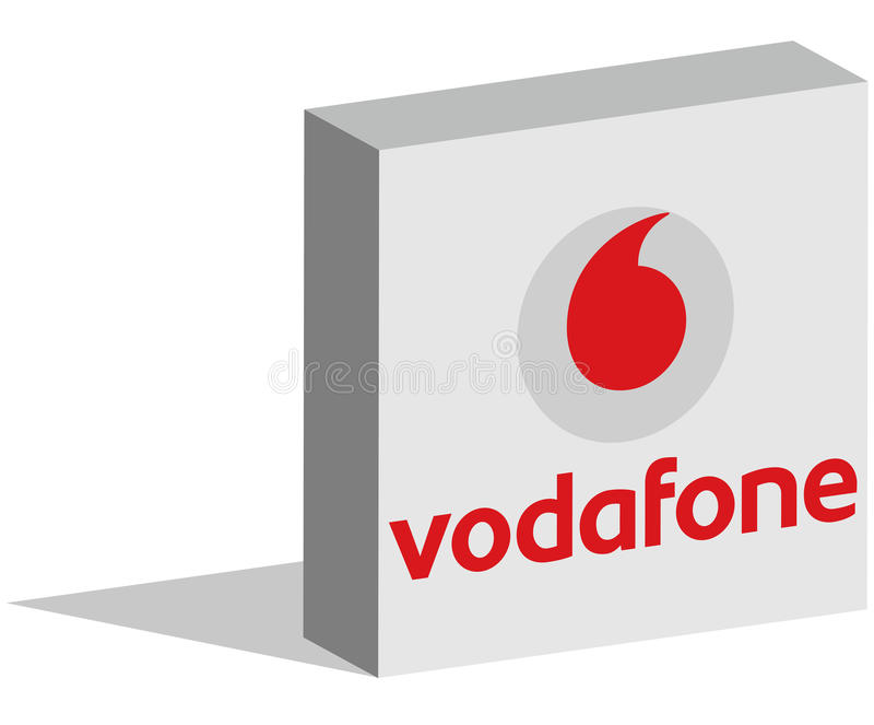Vodafone logotype in 3d vorm op grond stock illustratie