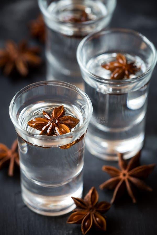 Vodca ou licor do anis em tiros da árvore com anis de estrela fotografia de stock