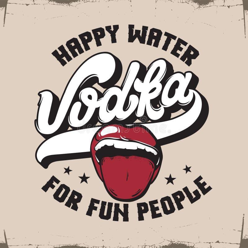 vodka Acqua felice per la gente di divertimento Fondo tipografico di citazione di vettore royalty illustrazione gratis
