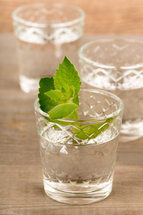 Vodka avec la menthe dans des verres à liqueur sur la table en bois rustique photo libre de droits