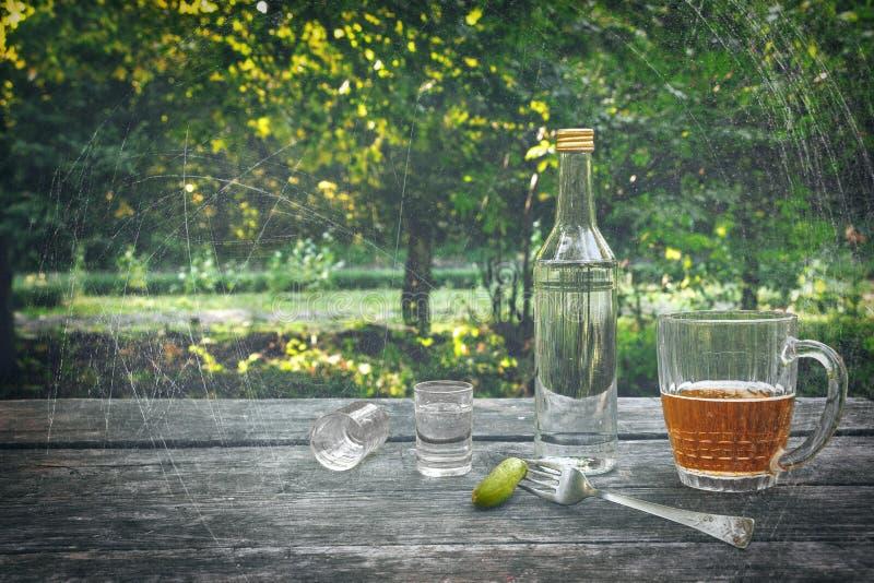 Vodka avec les concombres marinés, deux verres à liqueur et la tasse de bière froide sur la table en bois au fond de nature Après photographie stock libre de droits