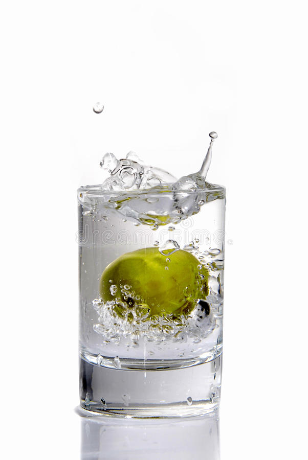 Vodka with the big olive stock images