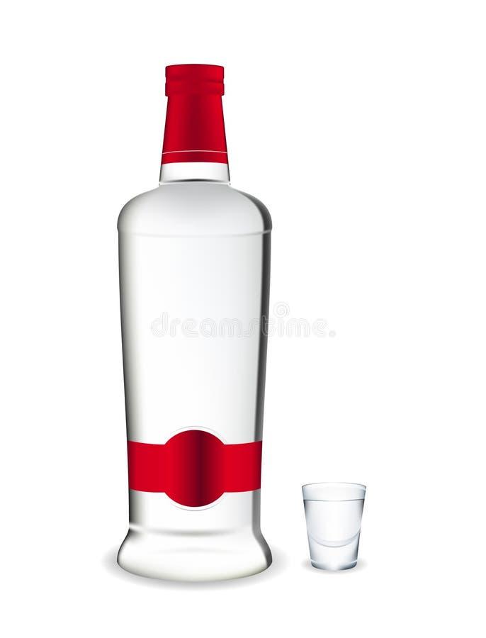 Vodka. Bottiglia e vetro. illustrazione vettoriale