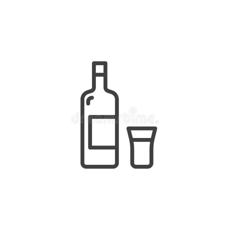 Vodka bottle and shot line icon vector illustration
