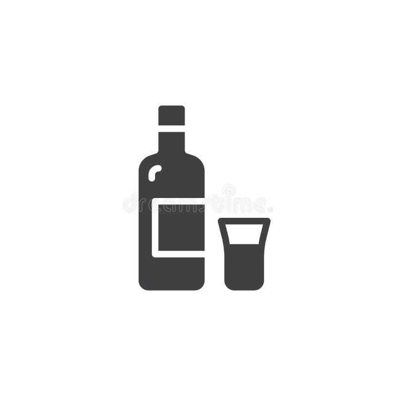 Vodka bottle and shot vector icon vector illustration