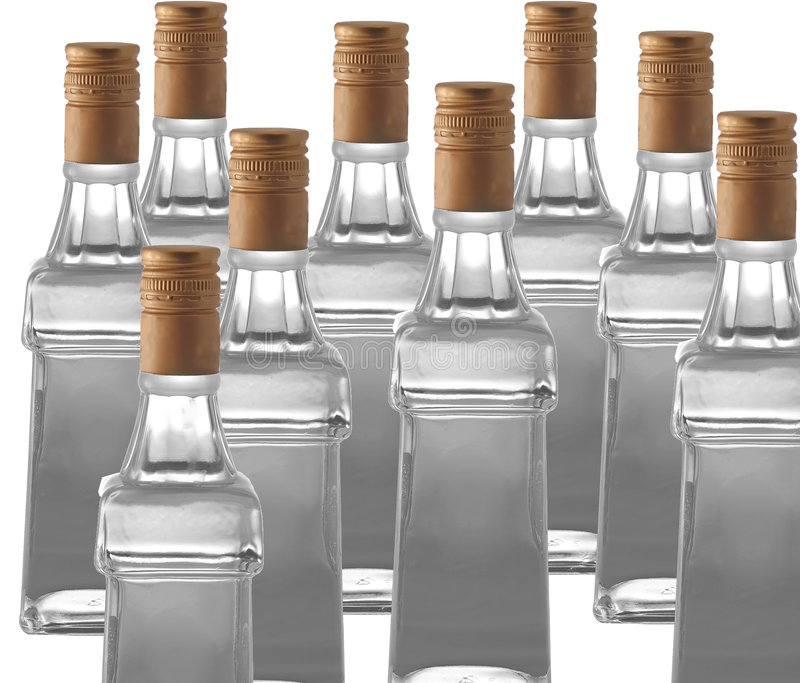 Vodka bottles stock photos